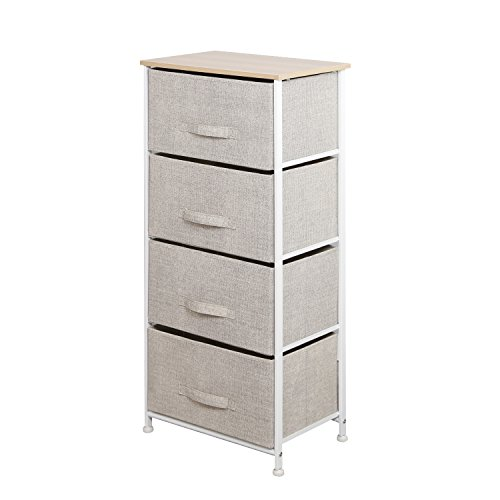 Soges Fabric 4-Drawer Storage Organizer Unit for Bedroom, or Play Room with Fabric Bin Storage Unit,Beige 103N-CA