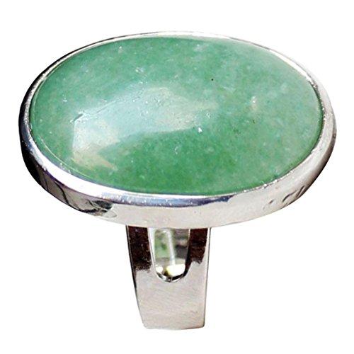 IPOTCH Anello Vintage Boho, Fascia per Dito in Pietra Preziosa Naturale, Gioielli con Anello Personalizzato con Opale Marquise - Verde