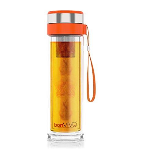 bonVIVO® vitaliTEA Botella Aislante de Viaje con Infusor de Té en Acero Inoxidable, 0.45 litros