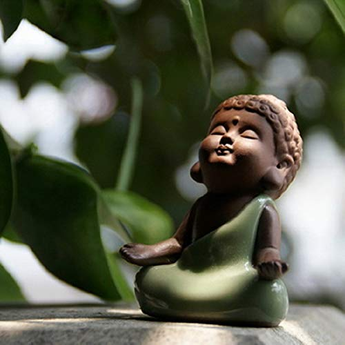 Kingzhuo Ceramic Tiny Cute Buddha Statue Peaceful Rulai Figurine Creative Baby Crafts Dolls Ornaments Gift Classic Chinese Delicate Ceramic Arts and Crafts Tea Accessories (5.5 x 7 cm)