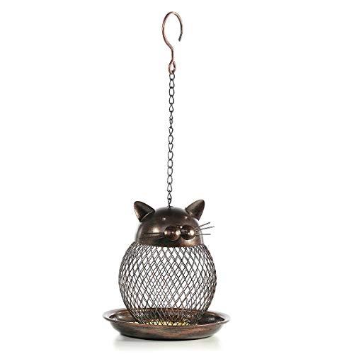 Nrpfell kat in de vorm van een voering voor vogels, kat in de vorm van oogstfeest, handgemaakt buiten, decoratie voor villa, tuin, decoratie, vogel, hangend voederstation in de openlucht.