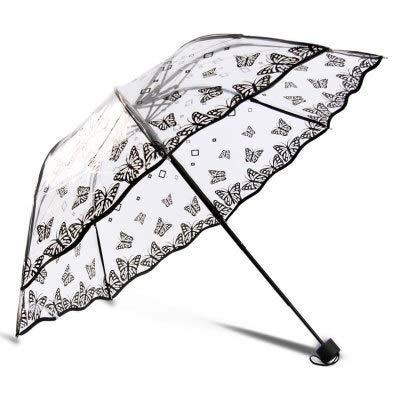 Paraguas transparente de PVC de la mariposa de la lluvia de las mujeres del paraguas de la protección del medio ambiente para las mujeres a prueba de viento