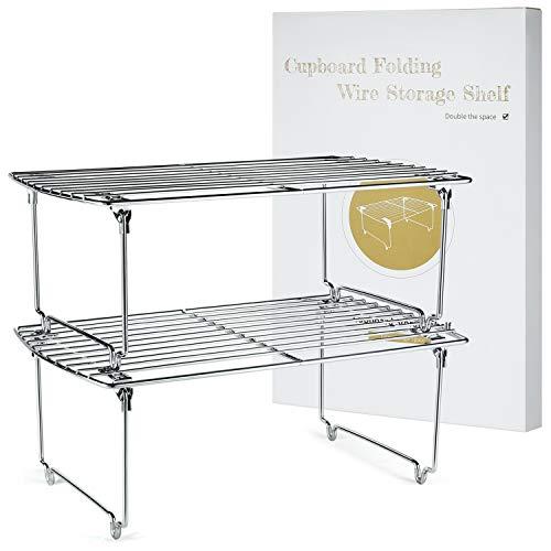 TJ.MOREE Stapelbarer Küchenschrank-Organizer, Schrank-Aufbewahrung, Gewürzregal, Speisekammer, Kühlschrank, platzsparendes Set von 2 (Chrom)
