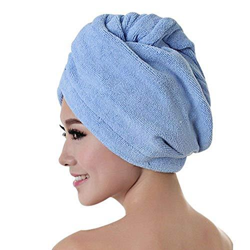 Wrap Cap douche cheveux Douche Cap cheveux Serviette Cap rapide séchage des cheveux épais Serviette Absorbent Douche Cap rapide 60 X 25 cm Serviette Solide Couleur ( Color : Bleu , Size : 60 x 25 cm )