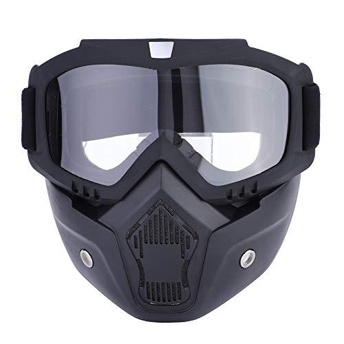Cocoarm Motorradbrille mit abnehmbarer Gesichtsmaske abnehmbare beschlagfreie Brille Motorrad Schutzbrille Staubschutz Brille Motorrad Gesichtsmaske für Fahrrad Motocross (Transparent)