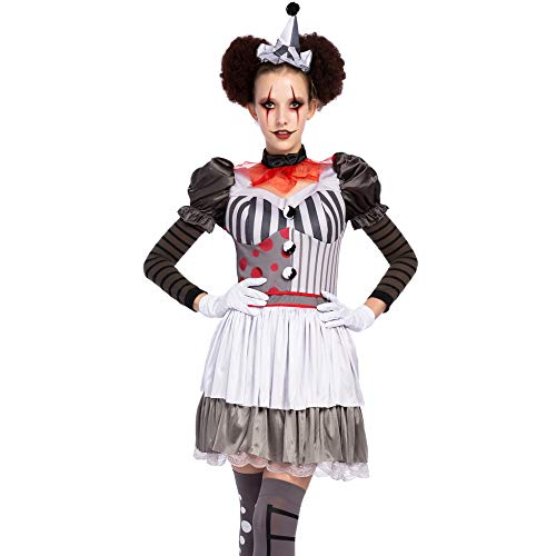 Spooktacular Creations Halloween Creepy Evil Scary Clown Costume for Women (Large) White