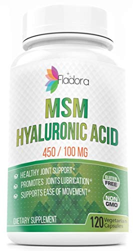 Hyaluronic Acid and MSM Nutritional Supplement, 450/100mg – Anti-Inflammatory Supports Joint Health and Collagen Production for Healthy Skin, 120 Vegetarian Capsules by Fladora, Non-GMO