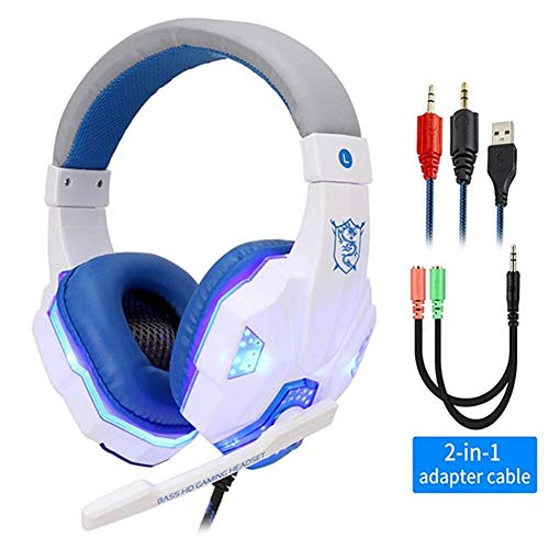 HAIRY Stereo Gaming Headset with Mic, Noise Cancelling Over Ear Headphones, Bass Surround, Soft Memory Earmuffs for PS4, PC, Xbox One Controller, Laptop Mac Nintendo Switch Games Phones