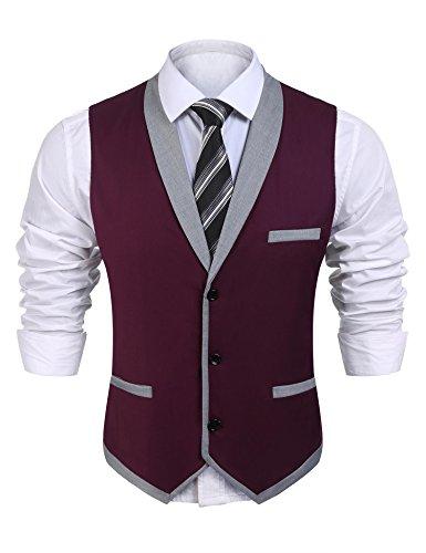 Coofandy Men's V-Neck Sleeveless Slim Fit Vest,Jacket Business Suit Dress Vest,Wine Red,XX-Large(Chest: 49.2