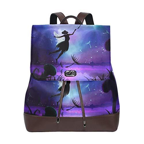 Flyup Fairy Tale Women's Genuine Leather Backpack Bookbag Schoolbag Shoulder Bag Mochila de cuero para mujer