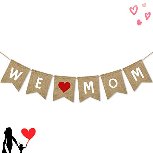 We Love Mom Burlap Banner | Rustic Mothers Day Party Decoration Supplies| Mothers Day Gifts from Son...
