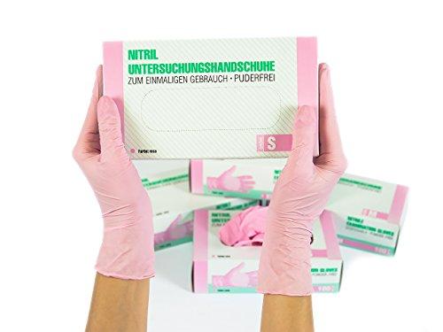 Untersuchungshandschuhe Nitril unsteril puderfrei Größe S, 100 St/box, Rosa