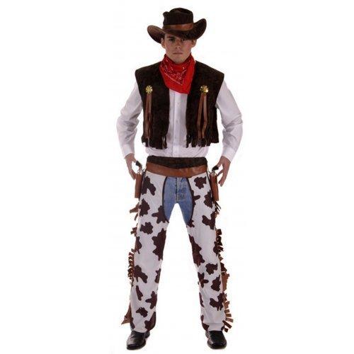 4 pièces Hommes Far West Cowboy Sheriff Costume déguisement Standard et XL - Marron, X-Large