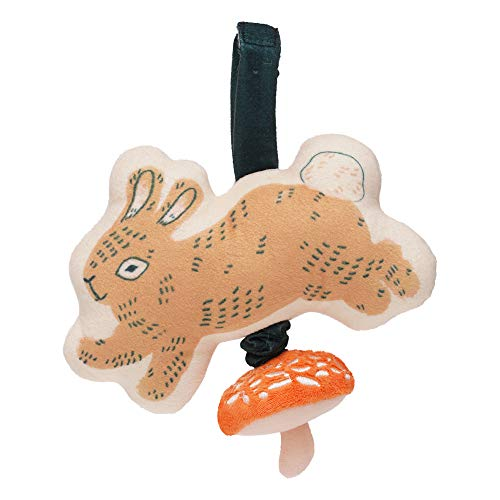 Manhattan Toy Button Bunny Brahm's Lullaby Pull Musical Toy with Baby Chime and Adjustable Fabric Loop for Carriers and Cribs