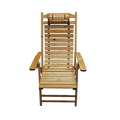 KSUNGB Chaise Pliante en Bois Bois Massif Ergonomie Fauteuil/Tabouret Balcon Fauteuil Chaise de Salle à Manger, De Plein air Plage Chaise Longue,Solidwood,95 * 65 * 110cm
