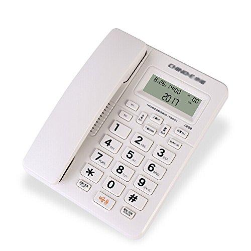 YSNUK Teléfono Fijo con Soporte para el hogar, casa, Negocio, Oficina, línea Fija, Solo, Llave, sin Marcado, batería, Blanco Teléfono rotatorio