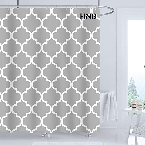 HNB Quatrefoil Fabric Shower Curtain for Bathroom Decor Grey Background Geometric Pattern Bathroom Shower Curtain Set with 12 Hooks Waterproof Polyester Fabric Machine Washable, 47x72 Inches