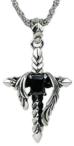 AmDxD Bijoux Acier Inoxydable Homme Pendentif Collier Style Punk Noir Angle Aile Croix CZ