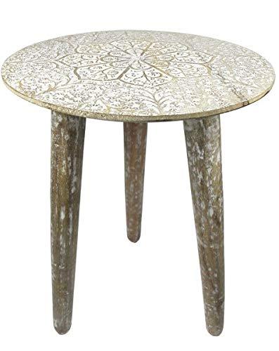 Saharashop Indischer Tisch aus Holz Nr. 5, Beistelltisch Couchtisch aus Holz massiv Oriental 38 cm | Traditionnel Tisch aus Massivholz Natur/Weiß für Ihr Wohnzimmer