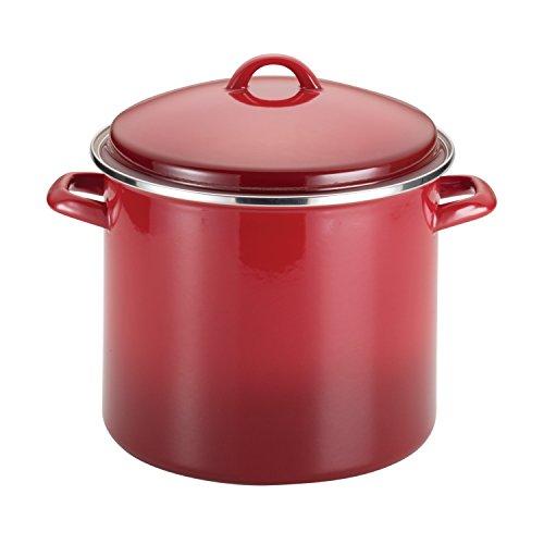 Rachael Ray Enamel on Steel Stock Pot/Stockpot with Lid, 12 Quart, Red Gradient