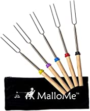 MalloMe Marshmallow Roasting Sticks - Smores Skewers for Fire Pit Kit - Hot Dog Camping Accessories Campfire Marshmellow 32 Inch Long Fork - 5 Pack