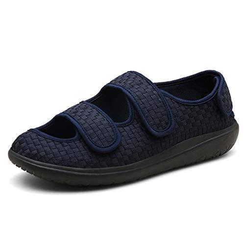 Sandali Donna Pantofole Uomo Scarpa Ortopedica Scarpe Diabetiche Edema Scarpe gonfiabili per Le Scarpe Regolabili Pantofole Molto Larghe Ciabatta Blue 44EU