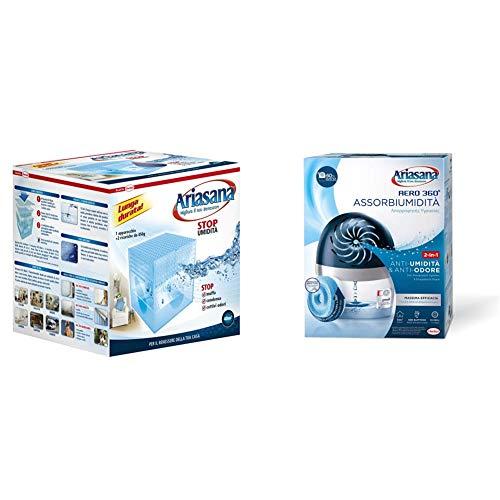 Ariasana 673932 Kit Maxi Classic Assorbiumidita, 2x450 g & Aero 360 kit Assorbiumidita in Plastica Riciclata, Deumidificatore non Elettrico e Riciclabile, Assorbi Umidita contro Condensa e Muffa