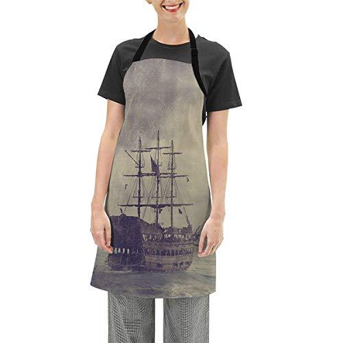 Delantales-Delantal impermeable ajustable para cocinar en la cintura para chef, barbacoa (antiguo barco pirata en el mar histórico)