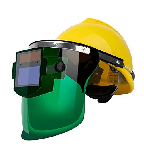 Vosarea Rasenmäher Helm Gesichtsschutz mit Visier Maschenvisier Kopfschutz Augenschutz Forstschutzhelm Gesichtsschild Schutzhelm für Waldarbeite Schweißen Automobilbau Gelb