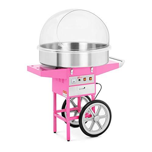 Royal Catering RCZC-1200XL Zuckerwattemaschine XXL Cotton Candy Maschine mit Wagen und Abdeckhaube Spuckschutz (Ø 72 cm, 1.200 W, 1 Einheit / 60 s, inkl. Zubehör) Pink