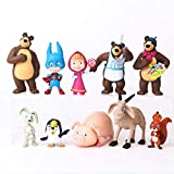 RoyalToys Masha and The Bear Playset 10 Pcs Figures Doll Toys Party Favor Cupcake Topper
