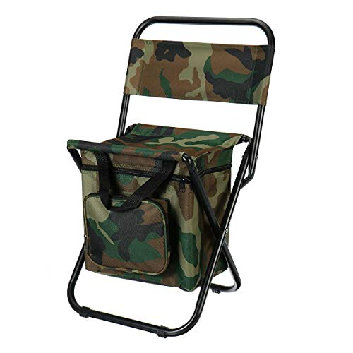 YTXR Best Camping Chairs Folding Fishing Chair Backpack Insulation with Cooler Bag Portable Folding Beach Chair Folding Stool Chair Seat Camping Chairs (Color : Camo with Bag)