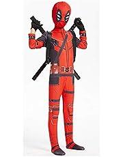 MYYLY Disfraces De Deadpool De Superhéroe para Niños, Mono Unisex para Adultos Y Niños De Deadpool, con 2 Espadas De PU Y Ligueros, Disfraces De Halloween para Cosplay