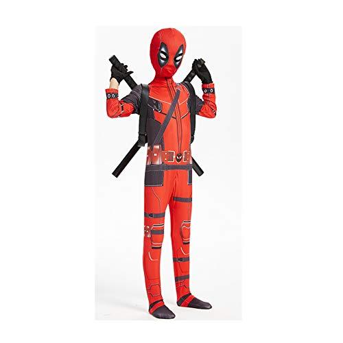 MYYLY Disfraces De Deadpool De Superhéroe para Niños, Mono Unisex para Adultos Y Niños De Deadpool, con 2 Espadas De PU Y Ligueros, Disfraces De Halloween para Cosplay,Red Band Knife-Kids(120~130cm)