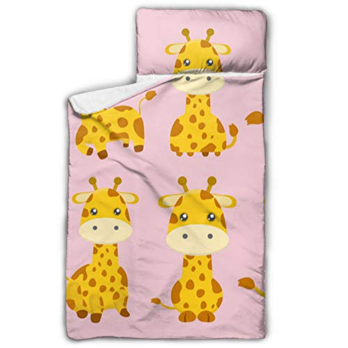 Giraffe Cartoon Lovely Yellow Animal Sleeping Bag Kids Daycare Toddler Nap Mat with Blanket and Pillow Rollup Design Great for Preschool Daycare Sleepovers 50\