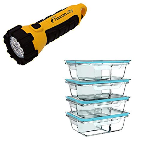 Toucan City LED Flashlight and Classic Cuisine 8-Piece Glass Food Storage Containers with Snap Shut Lids HW0500115
