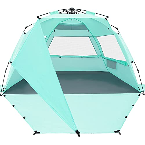 KO-ON XXL Beach Tent Sun Shelter Pop Up , Easy Setup Beach Shade for 4 Person with UPF 50+ Protection, Extra Shade on One Side, Extended Floor & 3 Ventilation Windows (Purist Blue)