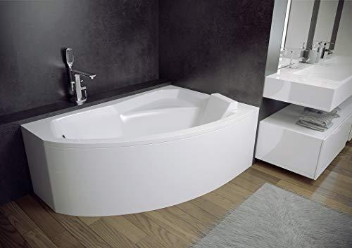BADLAND Eckbadewanne Badewanne Rima RECHTS LINKS 130x85 mit Acrylschürze, Füßen und Ablaufgarnitur GRATIS (130x85 LINKS)