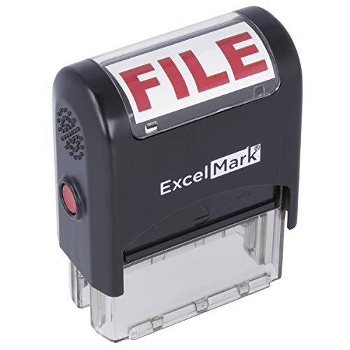 File - ExcelMark Self-Inking Rubber Office Stamp - Red Ink