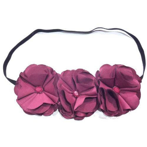 rougecaramel - Accessoires cheveux - Headband/bandeau fleur élastique composé 3 fleur avec chacune une perle au centre - lie de vin