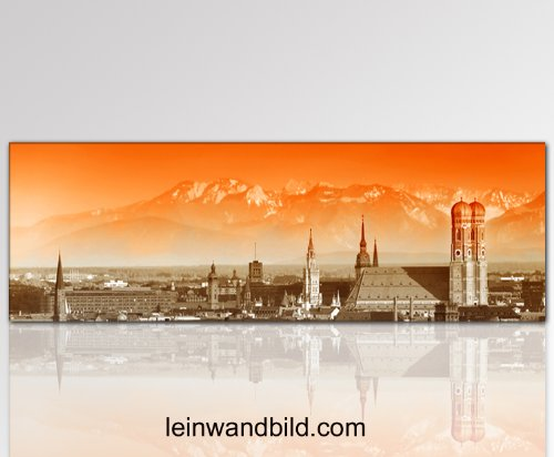 Leinwandbild München Panorama in 120x50cm fertig gerahmt Skyline Alpen