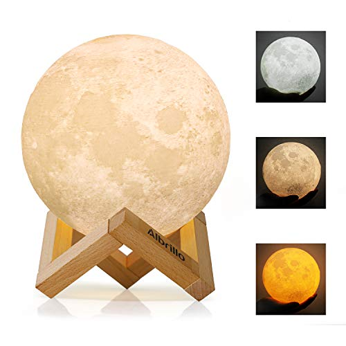 Albrillo Lámpara de Luna 3D - Luz Nocturna LED Lámpara de Lunar 15cm Regulable con 3 Colores, Control Táctil e USB Recargable, como Regalo o Decoracion