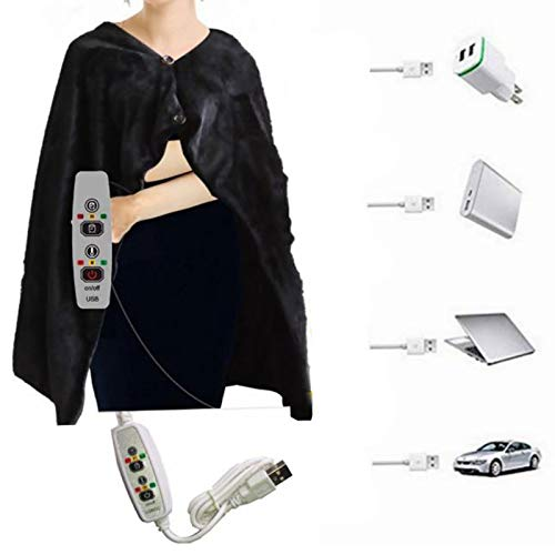VKTY USB Heated Shawl and Lap Blanket Plush Electric Heated Throw Blanket Washable 3-Heat Setting Controller Portable Heated Blanket for Winter Home Office and Car