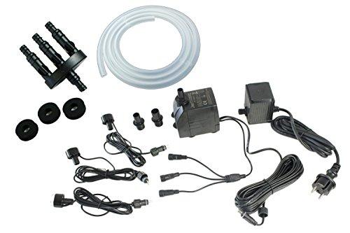 Arnusa Springbrunnen Pumpe Komplett Set mit 3er LED-Beleuchtung inkl.3 Wege Schlauchadapter, Schlauch und Schaumstoffdichtungen (1500L/H, RGB Farbwechsel)