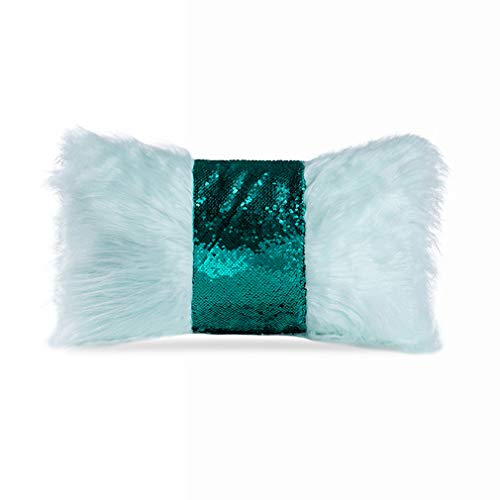 WOHCO Nueva Serie de Lujo Decorativa Estilo Lentejuelas de Piel sintética Lazo Funda de Almohada Funda de cojín para Silla/sofá/sofá, 12 x 20 Pulgadas / 30 x 50 cm