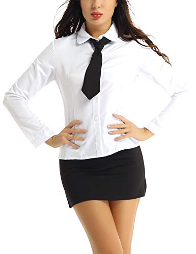 FEESHOW Women Sexy Secretary Uniform Cosplay Costume Shirt with Split Bodycon Mini Skirt Set White&Black Large