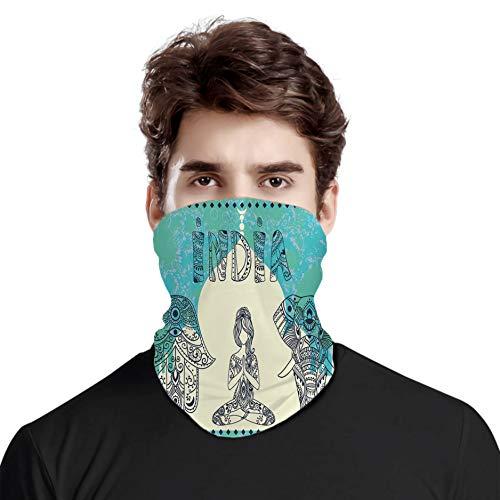 FULIYA Bandana a prueba de viento variedad bufanda de cabeza, elefante étnico Hamsa mano mujer haciendo yoga adornos Taj Mahal Silhouette, para mujeres y hombres