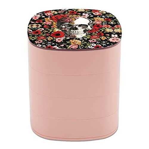Joyero organizador redondo de 4 capas, giratorio de 360 grados, para anillos, pendientes, collares, pulseras y cuerdas, regalo para niñas y madres, calavera floral en flor