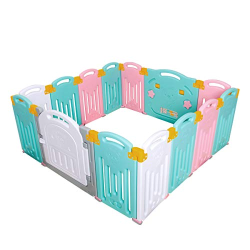 Uanlauo Foldable Baby Playpen Safety Play Yard for Toddler,...