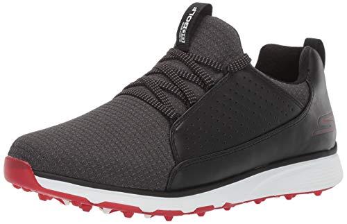 Skechers Herren Waterproof Golf Shoe Mojo, wasserfester Golfschuh, Schwarz/Rot Textil, 40 EU